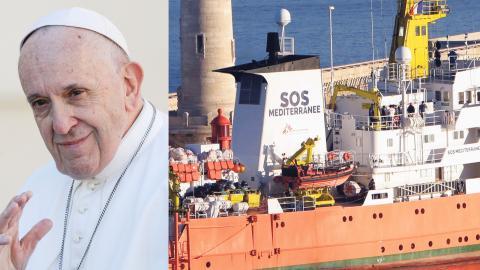 Påve Franciskus / Läkare utan gränsers fartyg Aquarius. Bild: Andrew Medichini / Claude Paris / TT