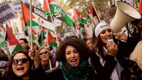 Demonstration i Madrid till stöd för Västsahara. Foto: Francisco Seco/AP/TT