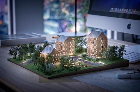 ETC Bygg - klimatpositiva hyreshus i trä. Bild: Peter Rosengren