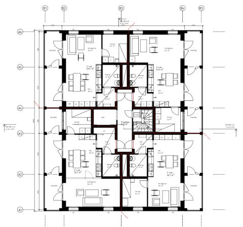 Exempel på planlösning på en våning i ETC Byggs hyreshus.