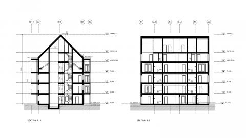 Planritning över ETC Byggs hyreshus.