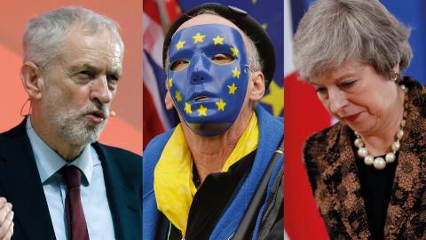 Synen på Brexit splittrar både vänstern och högern i  Storbritannien. På bild syns Jeremy Corbyn, en okänd brexitmotståndare samt Theresa May.  Bild: TT/AP