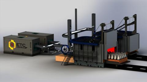 Modell av Eco-Tech Cerams innovation, som tar till vara på spillvärme  från industriella processer.  Bild: Eco-Tech Ceram