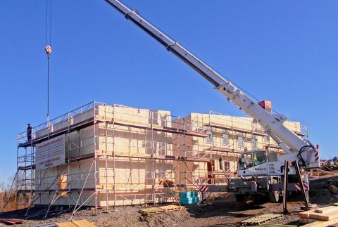 Byggnation av ETC:s skola i Katrineholm.