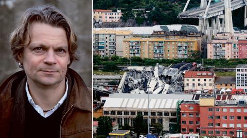 43 människor dödades när Morandibron i Genoa rasade.  Bild: Antonio Calanni/AP