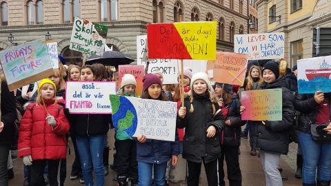 Klimatstrejkare på Mynttorget i Stockholm. Bild: Privat