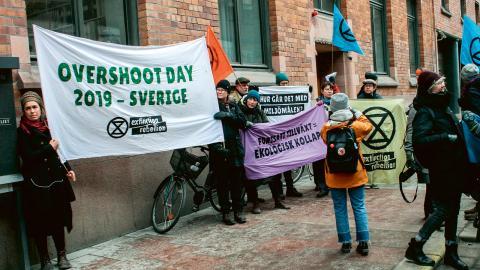 Protester utanför näringsdepartementet. Bild: Adolfo Diaz