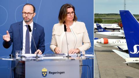 Infrastrukturminister Tomas Eneroth (S) och miljö- och klimatminister Isabella Lövin (MP). Bild: Fredrik Sandberg/Johan Nilsson/TT