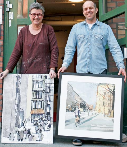 Vårens stora helg väntar för Majorna-konstnärerna Anna Thörnquist och Steve Bettman. Foto: Christian Egefur