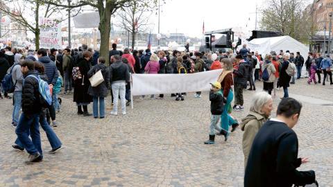 Manifestation för ensamkommande flyktingbarn och unga i Stockholm i maj förra året. Foto: Anna Karolina Eriksson/TT