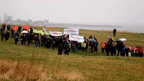 I mars i år demonstrerade Brexit- anhängare i en två veckor lång marsch mellan Sunderland och London.  Bild: Frank Augstein/AP