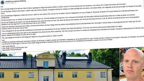 Joakim Lamotte besökte Jensens grundskola i Göteborg för en föreläsning – skolföretagets ledning har påpekat att de tycker att föreläsningen var fel forum. OBS: Skolan på bilden finns i Stockholm. Foto: Jensen/Facebook, Pressbild och skärmdump från Lamottes besök.