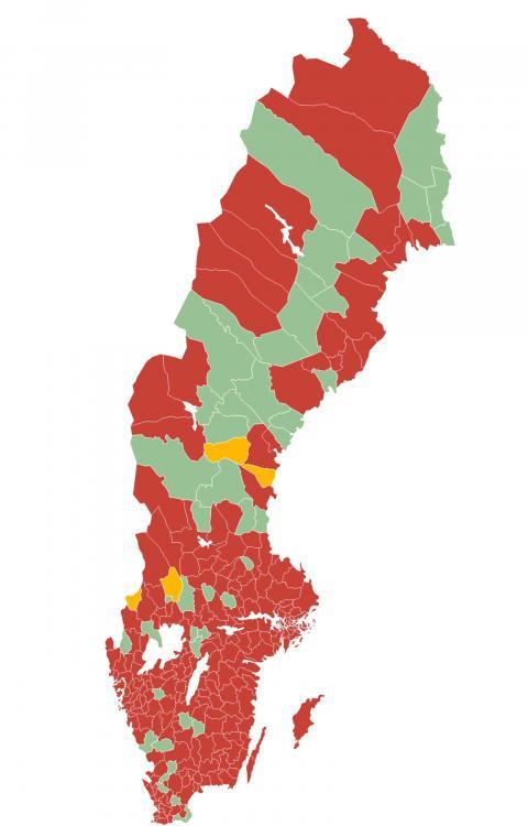 Läget i Sveriges kommuner. Rött – brist på bostäder. Grönt – balans. Gult – överskott. Källa: Hyresgästföreningen