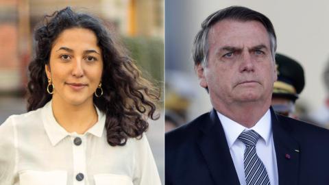 Aida Badeli, språkrör Grön ungdom / Jair Bolsonaro, president i Brasilien. Bild: Grön ungdom / Eraldo Peres/AP/TT