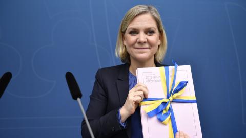 Magdalena Andersson presenterar vårbudgeten.  Bild: Naina Helen Jama/TT