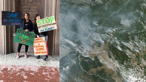 Den brasilianska aktivisten Esther Hauer och hennes kompis Priscila D'Almeida protesterar mot Bolsonaros klimatpolitik. / Brand i Amazonas. Bild: Privat / Nasa