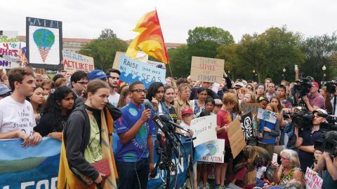 Jerome Foster II under klimatstrejken i Washington DC.  Bild: Helena Gustavsson