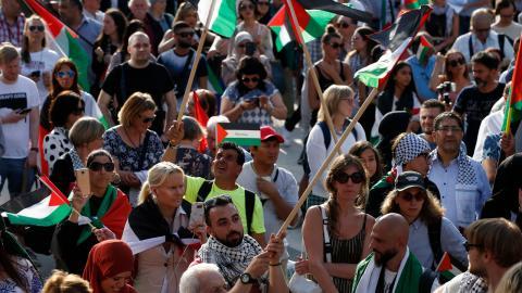 Demonstration 2018 till minne av al Nakba och för att protestera mot ockupationen av Palestina och fördrivningen av palestinierna. Bild: Fredrik Persson / TT