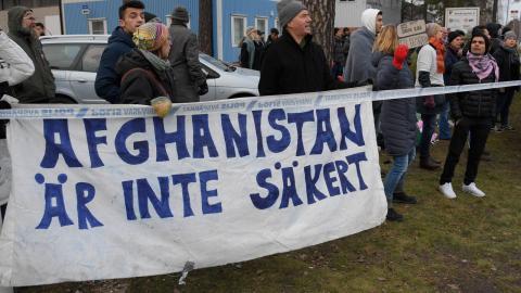 Demonstration mot utvisningar till Afghanistan, hösten 2018. Foto: TT