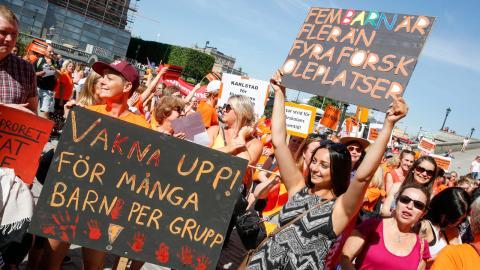 Förra året demonstrerade förskolepersonalen för bättre förutsättningar under parollen Förskoleupproret. Bilden är från 2018.  Bild: Fredrik Persson/TT