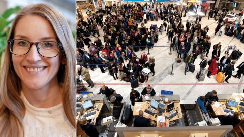 Kristina Östman, Naturskyddsföreningen / Långa köer på Landvetter flygplats. Bild: Press / Adam Ihse/TT