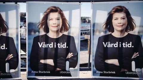 Anna Starbrink på Liberalernas valaffisch 2018. Foto: Erik Simander/TT