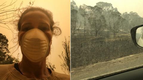 Stina Powell tar en selfie med munskydd. Gul tröja. Gul luft. / Nyårsdagens morgon, på väg för att leta rätt på de andra i familjen. Bilder: Stina Powell