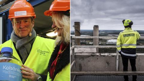 Energiminster Anders Ygeman och Norges statssekreterare Liv Lønnum vid invigningen av pilotanläggningen i Värtan. / Cementas fabrik i Slite är Sveriges näst största utsläppskälla av växthusgaser. Bild: Jens Ergon / Magnus Hjalmarson Neideman/SvD/TT
