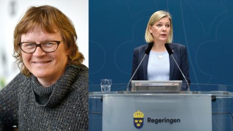 Magdalena Andersson, finansminister, kontrade med att Moderaterna borde ha tänkt på det när de sänkte skatten med 140 miljarder under sin tid i regeringen. Bild: Ali Lorestani/TT