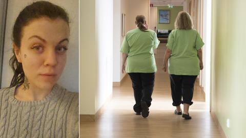 Undersköterskan Clara Karlsson tar farväl av sitt jobb. Bild: Privat/TT