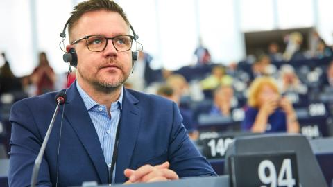 Centerpartiets Fredrick Federley i EU-parlamentet. Foto: Fredrik Persson/TT