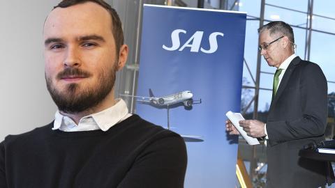 SAS vd Rickard Gustafson pratar med journalister efter en presskonferens på Frösundavik med anledning av att efterfrågan på flygresor påverkats kraftigt av coronasmittan. Bild: Claudio Bresciani/TT