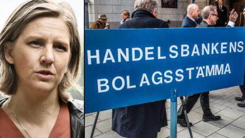 När näringslivet kräver att skattebetalarna ska gå in med olika typer av stöd är det oanständigt att samtidigt ge stor utdelning till sina ägare, skriver Karolina Skog, MP. Handelsbanken har nyligenskjutit upp sitt beslut om utdelningar. Foto: TT