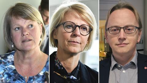 Ulla Andersson (V), Elisabeth Svantesson (M), Fredrik Olovsson (S). Bilder: Claudio Bresciani/Jessica Gow/Lars Larsson/TT