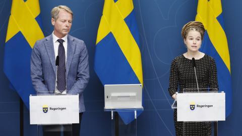 Christer Nylander (L), kulturutskottets ordförande och Amanda Lind (MP), kulturminister. Bild: Nils Petter Nilsson/TT