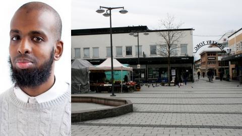 Rashid Musa, tidigare ordförande för Sveriges unga muslimer. / Folktomt vid Rinkeby torg. Bild: Privat / Jörgen Lund