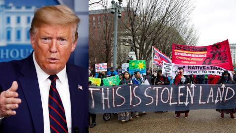 Flera miljöbestämmelser slopas nu i USA, dessutom skärper flera delstater straffen för miljöprotester. Lagstiftarna vill slippa fler protester som den vid Standing Rock i North Dakota där man försökte stoppa bygget av Dakota Access Pipeline.   Bild: Alex Brandon, Jose Luis Magana/AP/TT