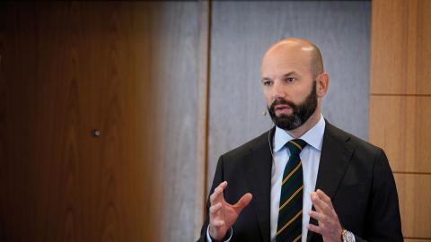 Mattias Dahl, vice vd för Svenskt näringsliv, som gått in i avtalsrörelsen med ett nollbud. Bild: Jessica Gow/TT