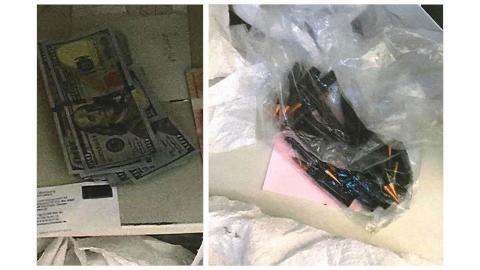 Dollarsedlar och patroner till automatvapen hittades vid ett tillslag mot svartjobbsföretaget Genats kontor 2018. Foto: Johan Fyrk