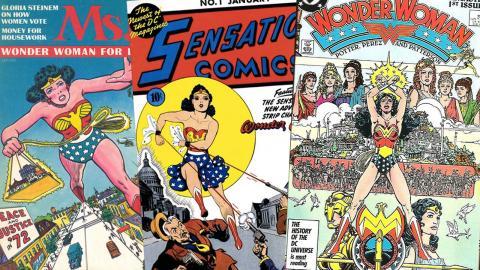 """Wonder Woman dök upp första gången 1942 i serietidningen """"Sensation Comics"""". Gloria Steinem använde Wonder Woman på omslaget till första numret av den feministiska tidsskriften Ms.  Foto: DC Comics och Ms magazine"""
