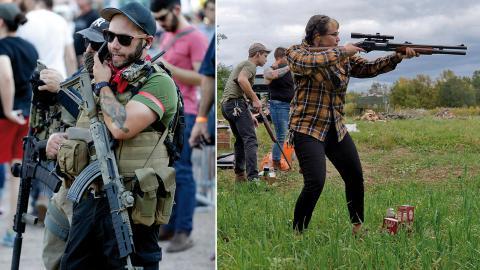 Medlemmar ur vänstermilisen John Brown gun club / Här övar Zora Gussow, från Trigger Warning Queer & Trans Gun Club. Bild: Matt York/Adrian Kraus/AP/TT