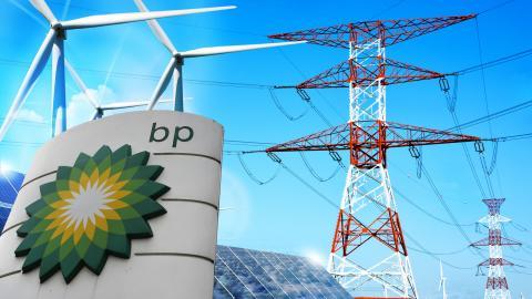 BP:s planerar att investera fem miljarder dollar årligen i förnybar energi och samtidigt minska produktionen av olja och naturgas med 40 procent.  Bild: Alastair Grant/AP/TT, Shutterstock (montage)