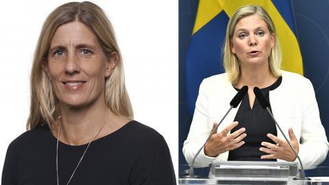 Åsa-Pia Järliden Bergström, ekonom på LO / Magdalena Andersson. Bild: LO / Claudio Bresciani/TT