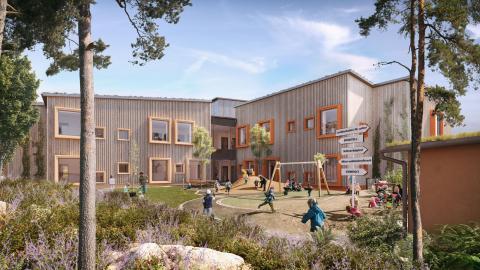 Så här ska förskolan Hoppet ska se ut när den är färdig.  Bild: Link Arkitektur