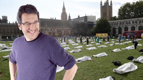 Extinction rebellion genomförde en aktion på Parliament Square i London den 2 september.  Bild: Alastair Grant/TT