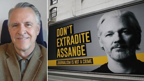 """""""Fallet Assange kan bli en milstolpe i pressfrihetens globala tillbakagång"""" skriver Gösta Hultén. Bild: Privat, Frank Augustein/TT"""