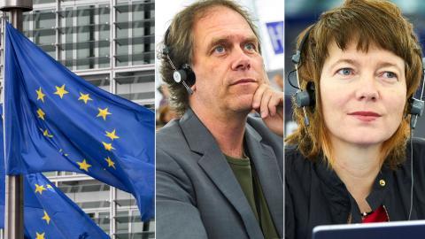 EU-parlamentarikerna Pär Holmgren (MP) och Malin Björk (V). Bild: Yves Logghe/TT/AP, Fredrik Persson/TT