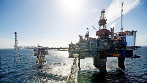 Sleipner-plattformen i Nordsjön är en av världens första CCS-anläggningar.  Bild: Marit Hommedal/TT