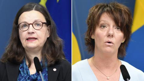 Utbildningsminister Anna Ekström och Matilda Ernkrans, minister för högre utbildning och forskning. Bild: Amir Nabizadeh/Anders Wiklund/TT