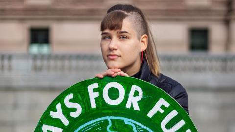 """Isabelle Axelsson, 19, gör sitt första TED Talks på onsdag. Hon ska tala om klimaträttvisa: """" Det är en stor fråga som måste betraktas både holistiskt och genom forskningen.""""  Bild: Angie Gray"""